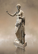 The Venus of Arles (  Greek Goddess Aphrodite) is a 1.94-metre-high (6.4ft) marble sculpture of Venus probably a copy of the Aphrodite of Thespiae by 4th century BC Greek Athenian sculpture Praxiteles . Louvre Museum, Paris. .<br /> <br /> If you prefer to buy from our ALAMY STOCK LIBRARY page at https://www.alamy.com/portfolio/paul-williams-funkystock/greco-roman-sculptures.html- Type -    Louvre    - into LOWER SEARCH WITHIN GALLERY box - Refine search by adding a subject, place, background colour,etc.<br /> <br /> Visit our CLASSICAL WORLD HISTORIC SITES PHOTO COLLECTIONS for more photos to download or buy as wall art prints https://funkystock.photoshelter.com/gallery-collection/The-Romans-Art-Artefacts-Antiquities-Historic-Sites-Pictures-Images/C0000r2uLJJo9_s0c