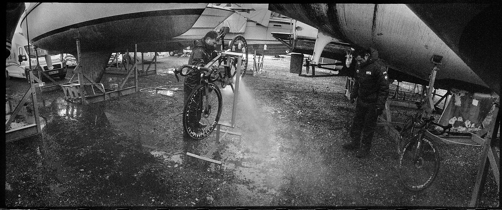 Cleaning bikes.