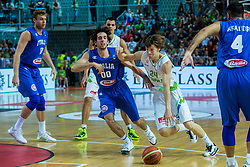 Jaka Klobucar of Slovenia vs Amedeo Della Valle of Italia during friendly basketball match between National teams of Slovenia and Italy at day 3 of Adecco Cup 2015, on August 23 in Koper, Slovenia. Photo by Grega Valancic / Sportida
