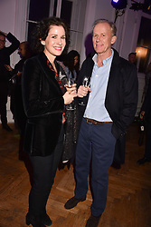 Mollie Dent-Brocklehurst and Richard Hudson at Mark Shand's Adventures and His Cabinet Of Curiosities VIP private view, 32 Portland Place, London, England. 20 February 2018.