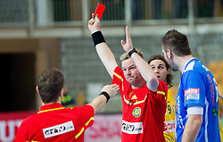 Referees Anders Karlund Birch and  Dennis Engkebolle Stenrand of Denmark with red card for Alexandru Stamate of Contanta during handball match between RK Cimos Koper and HCM Constanta in 10th Round of season 2011/2012 of EHF Men's Champions League, on February 25, 2012 in Arena Bonifika, Koper, Slovenia. Cimos Koper defeated Constanta 28-24. (Photo By Vid Ponikvar / Sportida.com)