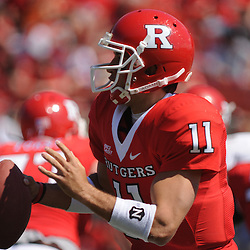 Apr 18, 2009; Piscataway, NJ, USA; Rutgers QB Domenic Natale scrambles and looks for an open receiver during the first half of Rutgers' Scarlet and White spring football scrimmage.