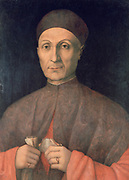 Portrait of a Scholar'  Gentile Bellini (active c1460. died 1507) Italian Renaissance painter. Head-and-shoulders full-frontal portrait of man in middle age wearing brown and orange. Confidence Intelligence Serenity