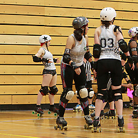 Manchester Checkerbroads face London Batter C Power in the Tier 1 WFTDA British Champs Playoffs 2019 at Fenton Manor Sports Complex, Stoke-on-Trent, 2019-09-22