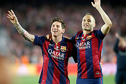 30.05.2015, Camp Nou, Barcelona, ESP, Copa del Rey, Athletic Club Bilbao vs FC Barcelona, Finale, im Bild FC Barcelona's Leo Messi (l) and Andres Iniesta celebrate the victory // during the final match of spanish king's cup between Athletic Club Bilbao and Barcelona FC at Camp Nou in Barcelona, Spain on 2015/05/30. EXPA Pictures © 2015, PhotoCredit: EXPA/ Alterphotos/ Acero<br /> <br /> *****ATTENTION - OUT of ESP, SUI*****