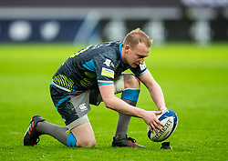 Luke Price of Ospreys lines up a kick at goal<br /> <br /> Photographer Simon King/Replay Images<br /> <br /> European Rugby Champions Cup Round 5 - Ospreys v Saracens - Saturday 11th January 2020 - Liberty Stadium - Swansea<br /> <br /> World Copyright © Replay Images . All rights reserved. info@replayimages.co.uk - http://replayimages.co.uk