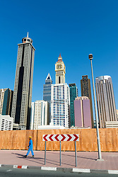 Skyline of modern skycrapers along Sheikh Zayed Road in Dubai United Arab Emirates