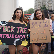 London,England,UK, 25th Aug 2016 : A group of protesters, protests against French BURKINIS on the beach, Islamophobia and discrimination against Muslim women outside French Embassy,London.UK. See Li/Picture Capital