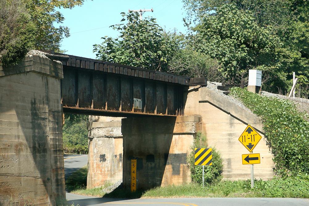 An old rail road bridge and underpass in rural Albemarle County, Virginia.
