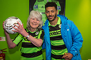 Forest Green Rovers Kaiyne Woolery(14) with Jilly Cooper, match ball sponsor during the Vanarama National League match between Forest Green Rovers and Chester FC at the New Lawn, Forest Green, United Kingdom on 14 April 2017. Photo by Shane Healey.