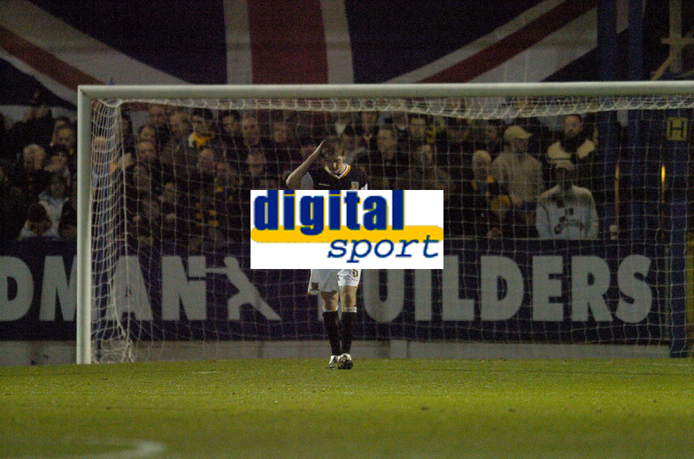 Photo: Olly Greenwood.<br />Colchester United v Hull City. Coca Cola Championship. 28/11/2006. Hull's Michael Turner looks dejected as Colchester score there 3rd goal