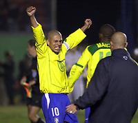 21/07/04 - LIMA - PERU - COPA AMERICA PERU 2004 - AMERICAN CUP - semifinal match.<br /> BRASIL - BRAZIL win by penalty over  URUGUAY - <br />Brazilian N*10 ALEX celebrating his penalty goal. The last form Brazil.<br />© F.G. / Argenpress.com
