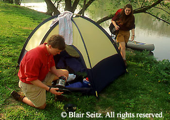 Camping Outdoor recreation, Young Adult Couples Tent Camp by Cononoquinet Creek, Cumberland Co., PA
