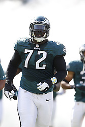 Philadelphia Eagles defensive tackle Cedric Thornton (72) enters the field before the NFL game between the Detroit Lions and the Philadelphia Eagles on Sunday, October 14th 2012 in Philadelphia. The Lions won 26-23 in Overtime. (Photo by Brian Garfinkel)