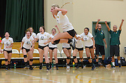 La Reina's Carolena Huseby leaps into the air to celebrate their 3-1 win over St. Paul during the CIF-Southern Section Division 4AA semi-final on Nov. 11, 2015.