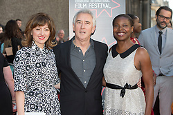 "Jo Hartley, Dennis Lawson and Jacqueline Lyanga. Opening Night Gala and World Premiere of ""The Legend of Barney Thompson"", Edinburgh International Film Festival 17 - 28 June 2015."