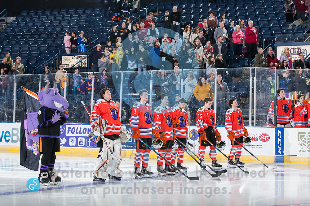 The Youngstown Phantoms lose 5-1 to the Waterloo Black Hawks at the Covelli Centre on February 29, 2020.<br /> <br /> Sparky; Dominic Basse, goalie, 22; Linden Alger, defenseman, 7; Aiden Gallacher, defenseman, 2; Trevor Kuntar, forward, 16; Matthew Cassidy, forward, 20