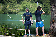 """Lucerne, SWITZERLAND, 12th July 2018, Thursday """"Bullshit Point"""" Netherland coaches, checking their crews training, or other teams crews, FISA World Cup III, Lake Rotsee, © Peter SPURRIER,"""