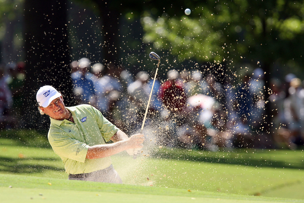 09 August 2007: Ernie Els hits out of the green side bunker on the 1st hole during the first round of the 89th PGA Championship at Southern Hills Country Club in Tulsa, OK.