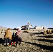 Group walking towards the small town of Tomarapi, Potosi region, Bolivia