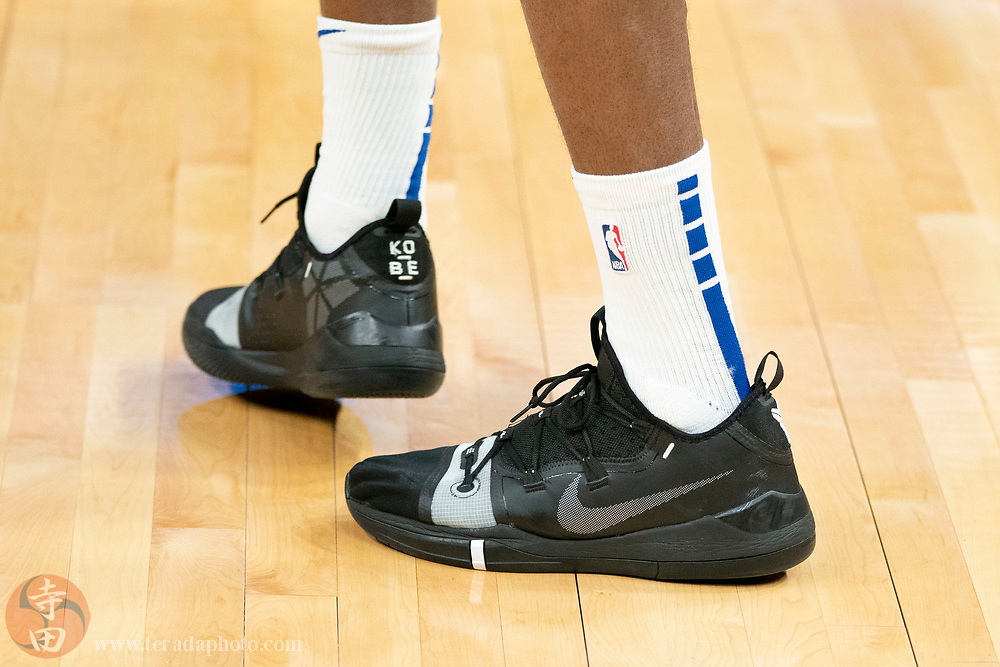 February 23, 2020; San Francisco, California, USA; Detail view of the Nike shoes worn by Golden State Warriors guard Andrew Wiggins (22) before the game against the New Orleans Pelicans at Chase Center.