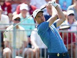 August 11, 2018 - St. Louis, Missouri, United States - Ross Fisher tees off the first hole during the third round of the 100th PGA Championship at Bellerive Country Club. (Credit Image: © Debby Wong via ZUMA Wire)