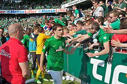 04.05.2013, Weserstadion, Bremen, GER, 1. FBL, SV Werder Bremen vs TSG 1899 Hoffenheim, 32. Runde, im Bild Sokratis Papastathopoulos (Bremen #22) nach dem Abpfiff in der Fankurve // during the German Bundesliga 32nd round match between the clubs SV Werder Bremen vs TSG 1899 Hoffenheim at the Weserstadion, Bremen, Germany on 2013/05/04. EXPA Pictures © 2013, PhotoCredit: EXPA/ Andreas Gumz ***** ATTENTION - OUT OF GER *****