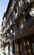 Traditional historic buildings in Calle Cava baja, La Latina barrio, Madrid city centre, Spain
