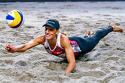 Emily Stockman USA in action during the second day of the beach volleyball event King of the Court at Jaarbeursplein on September 10, 2020 in Utrecht.