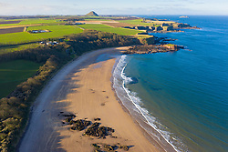 Aerial view of Seacliff Beach in East Lothian, Scotland, UK