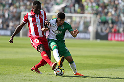 May 20, 2018 - Lisbon, Portugal - Aves' defender Carlos Ponck (L) vies with Sporting's midfielder Marcos Acuna from Argentina during the Portugal Cup Final football match CD Aves vs Sporting CP at the Jamor stadium in Oeiras, outskirts of Lisbon, on May 20, 2015. (Credit Image: © Pedro Fiuza/NurPhoto via ZUMA Press)