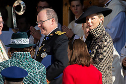 Prince Albert II and Princess Charlene of Monaco are arriving to the St. Nicholas Cathedral to attend the solemn mass during the National Day ceremonies. Monaco on november 19, 2018. Photo by ABACAPRES.COM