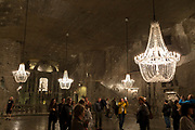 An interior of St. Kinga's Chapel, a subterranean church 1km beneath ground in Wieliczka Salt Mine, on 24th September 2019, in Wieliczka, Krakow, Malopolska, Poland.
