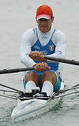 FISA World Cup Rowing Munich Germany..27/05/2004..Thursday morning opening heats...ITA M1X Paolo Loriato.. [Mandatory Credit: Peter Spurrier: Intersport Images].