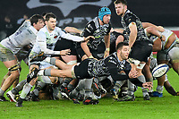 Rugby Union - 2017 / 2018 European Rugby Champions Cup - Pool Two: Ospreys vs. Saracens<br /> <br /> Rhys Webb of Ospreys dive passes the ball out, at The Liberty Stadium.<br /> <br /> COLORSPORT/WINSTON BYNORTH
