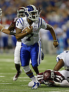 ATLANTA, GA - DECEMBER 31:  Quarterback Anthony Boone #7 of the Duke Blue Devils runs for a second half touchdown during the Chick-fil-A Bowl game against the Texas A&M Aggies at the Georgia Dome on December 31, 2013 in Atlanta, Georgia.  (Photo by Mike Zarrilli/Getty Images)