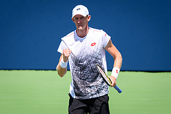 August 10, 2018 - Toronto, ON, U.S. - TORONTO, ON - AUGUST 10: Kevin Anderson (RSA) celebrates after winning a point during his Quarter-Finals match of the Rogers Cup tennis tournament on August 10, 2018, at Aviva Centre in Toronto, ON, Canada. (Photo by Julian Avram/Icon Sportswire) (Credit Image: © Julian Avram/Icon SMI via ZUMA Press)