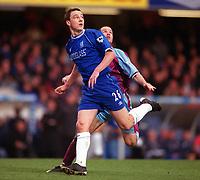 John Terry (Chelsea) and Giles De Bilde (Villa). Chelsea v Aston Villa. FA Premiership, 1/1/01. Credit: Colorsport / Andrew Cowie.