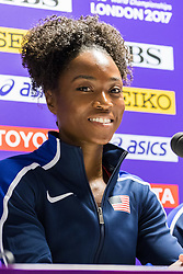 London, 03 August 2017. Dalilah Muhammad, 2016 Olympic 400mH champion and 2017 world leader at Team USATF press conference ahead of the IAAF World Championships London 2017 at the London Stadium.
