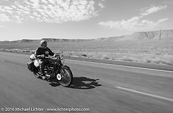 Kevin Waters riding his 1931 Sunbeam M9 during stage 11 (289 miles) of the Motorcycle Cannonball Cross-Country Endurance Run, which on this day ran from Grand Junction, CO to Springville, UT., USA. Tuesday, September 16, 2014.  Photography ©2014 Michael Lichter.