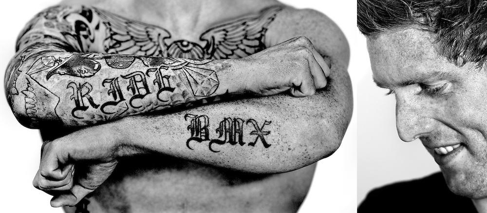 Nederland, Papendal, 26-04-2013.<br /> Roy van den Berg, BMX rijder en baan wielrenner, met zijn tattoo.<br /> Foto : Klaas Jan van der Weij