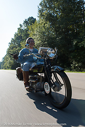 Frank Westfall riding his 1928 Henderson Deluxe during Stage 3 of the Motorcycle Cannonball Cross-Country Endurance Run, which on this day ran from Columbus, GA to Chatanooga, TN., USA. Sunday, September 7, 2014.  Photography ©2014 Michael Lichter.