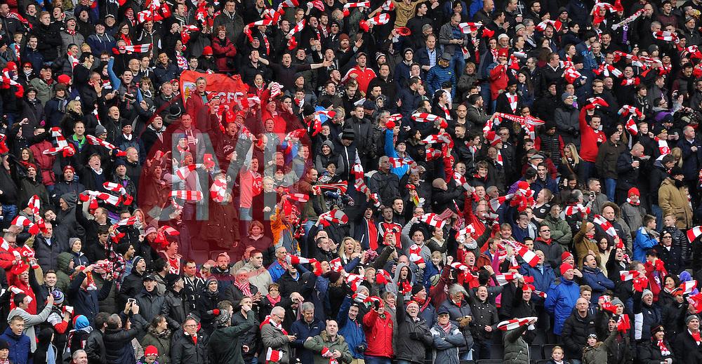 Over 5000 Bristol City fans wave scarves in the away end  - Photo mandatory by-line: Joe Meredith/JMP - Mobile: 07966 386802 - 07/02/2015 - SPORT - Football - Milton Keynes - Stadium MK - MK Dons v Bristol City - Sky Bet League One