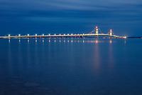Lights on Mackinac Bridge at twilight, seen from Saint Ignace,  Upper Peninsula Michigan.