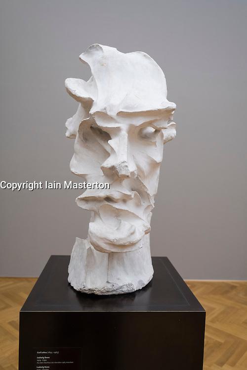 "Sculpture bust by Carl Lohse "" Ludwig Renn"" at Albertinum<br /> art museum in Dresden, Germany"