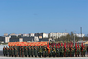 Albina, Russia, 22/04/2008..Russian soldiers in World War Two uniform practice for the forthcoming 63rd Victory Day celebrations on May 9, marking the end of the Second World War, referred to in Russia as the Great Patriotic War.