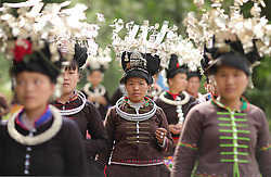 August 8, 2017 - People of Miao ethnic group in Maniao Village of Paidiao Town in Danzhai County of Qiandongnan Miao and Dong Autonomous Prefecture, southwest China's Guizhou Province. People of Miao ethnic group gathered on Tuesday to perform traditional Miao dance. (Credit Image: © Huang Xiaohai/Xinhua via ZUMA Wire)