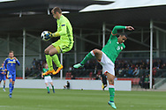 Luka Kacavenda of Bosnia and Herzegovina (1) catches the ball from Adam Idah of Republic of Ireland (9) during the UEFA European Under 17 Championship 2018 match between Bosnia and Republic of Ireland at Stadion Bilino Polje, Zenica, Bosnia and Herzegovina on 11 May 2018. Picture by Mick Haynes.