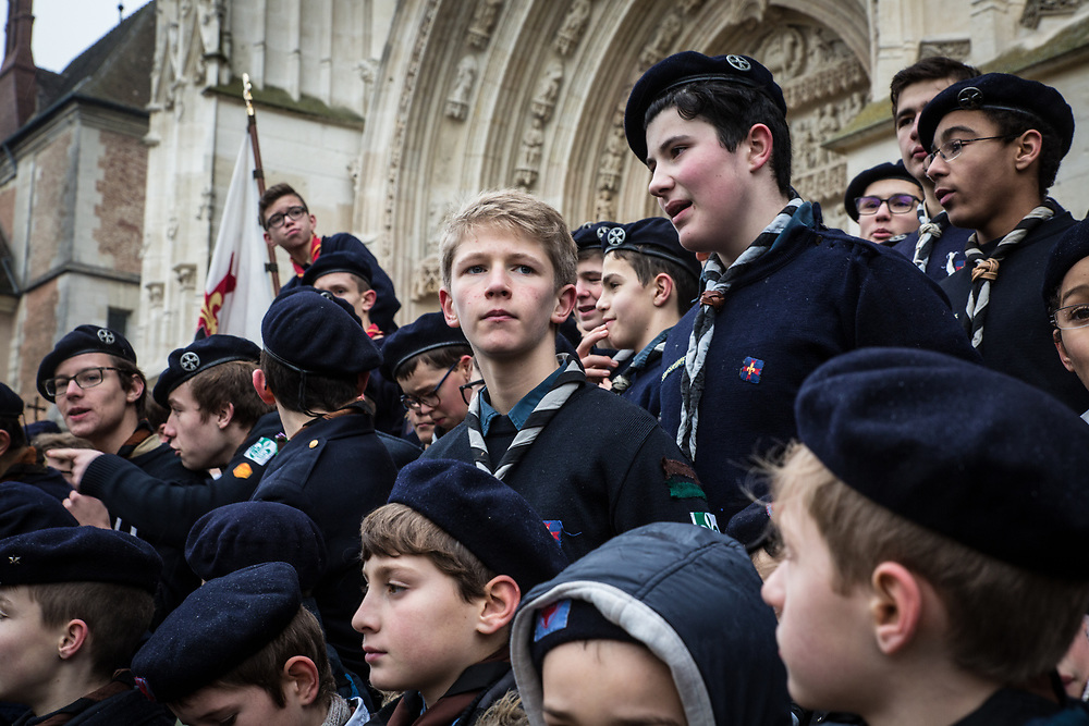 Hundreds of scouts and scout guides from the Paris area attend a mass at Meaux cathedral.  Meaux, France.  January 15, 2017                                                                            © Daniel Barreto Mezzano