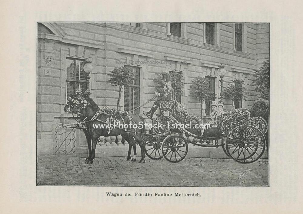 Wedding carriage covered in roses photographed in 1887 appeared in Rosen-Zeitung, Organ des Vereins Deutscher Rosenfreunde, 1887 [Periodical of the German Rose Society (Vereins Deutscher Rosenfreunde)] by C. P. Strassheim